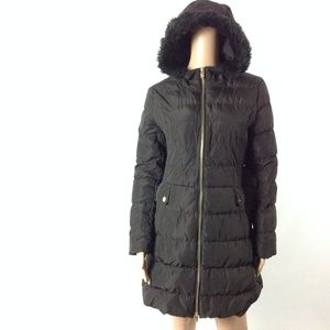 Via Spiga Women's Puffer Jacket Hooded Belted Sz S